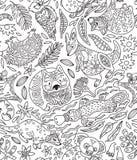 Картина контура безшовная с декоративными австралийскими животными также вектор иллюстрации притяжки corel бесплатная иллюстрация