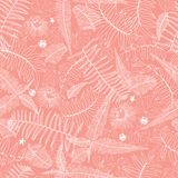 Картина коралла вектора розовая безшовная с папоротниками, листьями и полевым цветком Соответствующий для ткани, обруча подарка и иллюстрация штока