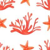 Картина кораллового рифа акварели безшовная Дизайн предпосылки мультфильма руки вычерченный: морские звёзды и кораллы, на белой п иллюстрация штока