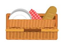 Картина корзины пикника, иллюстрация вектора цвета бесплатная иллюстрация