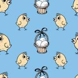 Картина корзин и цыпленоков пасхи Стоковые Изображения RF