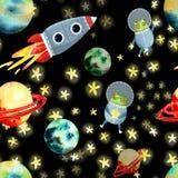 Картина космоса с планетами и ракетой иллюстрация вектора