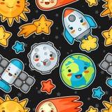 Картина космоса Kawaii безшовная Doodles с милым выражением лица Иллюстрация солнца шаржа, земли, луны, ракеты иллюстрация штока