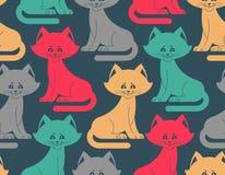 картина кота безшовная орнамент любимчика Животная текстура для детей Стоковое Фото