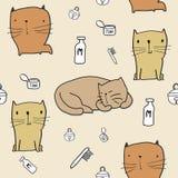 картина кота безшовная Стоковая Фотография
