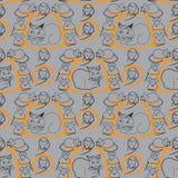 Картина кота и мышей безшовная на сером цвете Стоковые Изображения