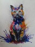 Картина кота красочная стоковое изображение rf