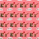 Картина кофеварки безшовная Стоковое Изображение RF