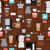 Картина кофейни безшовная Стоковое фото RF