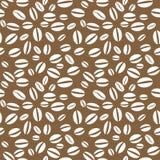 Картина кофейного зерна вектора безшовная повторяя Стоковое Изображение RF