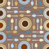 Картина кофейных чашек чая и безшовная Стоковое Изображение
