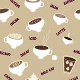 Картина кофе безшовная различных видов бесплатная иллюстрация