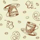 картина кофе безшовная Стоковые Изображения RF