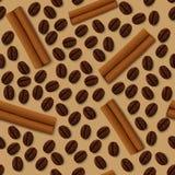 Картина кофе и циннамона безшовная Стоковые Фото