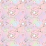 Картина красивой раковины жемчуга безшовная в предпосылке радуги Стоковое Фото