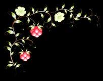 Картина красивых поленики и flovers иллюстрация графика феиэрверков eps10 предпосылки черная Стоковые Изображения