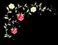 Картина красивых поленики и flovers иллюстрация графика феиэрверков eps10 предпосылки черная Стоковые Фотографии RF