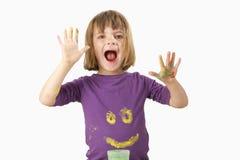 картина краски девушки перста Стоковое Изображение