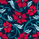 Картина красной вышивки гибискуса тропической флористическая безшовная иллюстрация вектора
