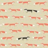 Картина красной и черной лисы безшовная иллюстрация штока