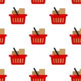 Картина красной полной корзины для товаров безшовная бесплатная иллюстрация
