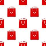 Картина красной полной хозяйственной сумки безшовная иллюстрация штока