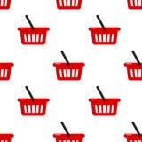 Картина красной пустой корзины безшовная иллюстрация штока