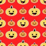 Картина красной тыквы хеллоуина безшовная Стоковая Фотография