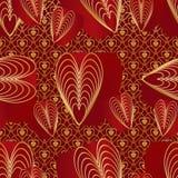 Картина красных золотых цветов влюбленности 9 безшовная Стоковые Фото