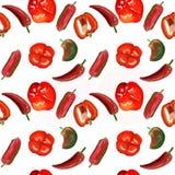 Картина красных и зеленых сладких перцев и накаленных докрасна перцев chili иллюстрация вектора