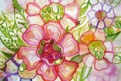 Картина красных и фиолетовых цветков Стоковое Фото