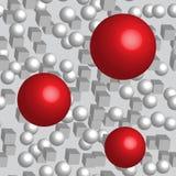 Картина красных кубов шариков белых безшовная Стоковые Фото