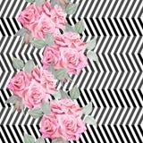 Картина красных роз акварели безшовная Стоковая Фотография