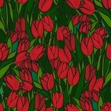 Картина красных тюльпанов безшовная Стоковая Фотография RF