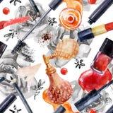 Картина красоты акварели безшовная Модный дизайн Стоковое Изображение RF