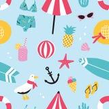 Картина красочного лета безшовная с элементами нарисованными рукой ананасом, мороженым, чайкой, surfboard, шариком, swimwear, шля Стоковое фото RF