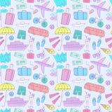 Картина красочного doodle летних каникулов безшовная Стоковые Фотографии RF