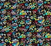 Картина красочной флористической черной предпосылки безшовная бесплатная иллюстрация