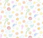 Картина красочных летних каникулов Doodle безшовная Стоковое Изображение