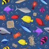Картина красочных рыб безшовная Рыбы и крабы океана также вектор иллюстрации притяжки corel Стоковая Фотография