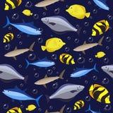 Картина красочных рыб безшовная Рыбы и крабы океана также вектор иллюстрации притяжки corel Стоковые Изображения RF