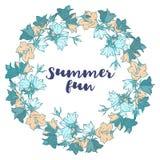 Картина круга с колокольчиками Круглый калейдоскоп цветков и флористических элементов Стоковые Изображения