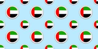 Картина круглого флага ОАЭ безшовная Предпосылка Объениненных Арабских Эмиратов Значки круга вектора Геометрические символы Текст бесплатная иллюстрация