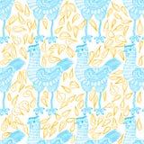 Картина курицы нарисованная рукой безшовная Стоковые Изображения