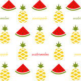 Картина кусков и ананаса арбуза Плодоовощ на белой предпосылке Стоковое фото RF