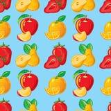 Картина клубники, яблока, апельсина и груши Стоковое Изображение RF