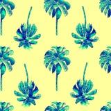 Картина ладони Картина экзотической акварели безшовная Стоковая Фотография