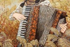 Картина лака женского игрока в тростниках, самана rgb аккордеона Стоковые Изображения RF