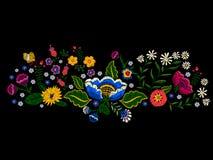 Картина ландшафта вышивки с упрощает цветки и бабочку Стоковая Фотография RF