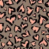 Картина леопарда Безшовная печать Абстрактная повторяя картина - имитацию кожи леопарда сердца можно покрасить на одеждах или ска иллюстрация штока